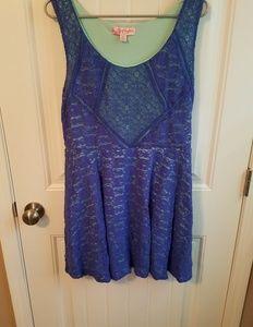 Lace style, blue and aqua sleeveless dress
